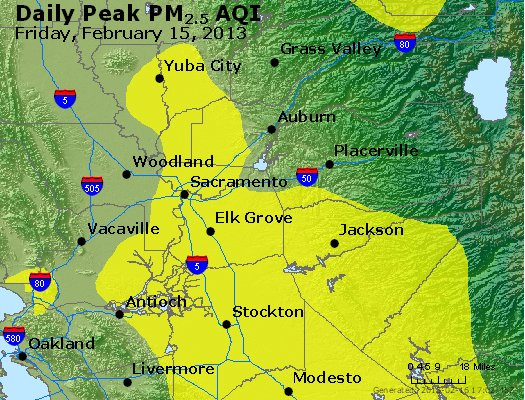 Peak Particles PM<sub>2.5</sub> (24-hour) - http://files.airnowtech.org/airnow/2013/20130215/peak_pm25_sacramento_ca.jpg