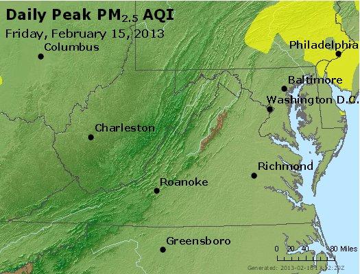 Peak Particles PM<sub>2.5</sub> (24-hour) - http://files.airnowtech.org/airnow/2013/20130215/peak_pm25_va_wv_md_de_dc.jpg