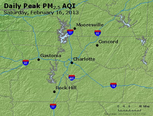 Peak Particles PM<sub>2.5</sub> (24-hour) - http://files.airnowtech.org/airnow/2013/20130216/peak_pm25_charlotte_nc.jpg