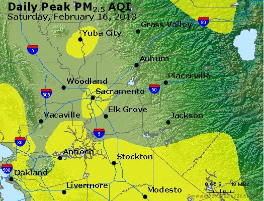 Peak Particles PM<sub>2.5</sub> (24-hour) - http://files.airnowtech.org/airnow/2013/20130216/peak_pm25_sacramento_ca.jpg