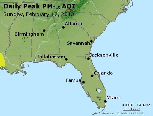 Peak Particles PM<sub>2.5</sub> (24-hour) - http://files.airnowtech.org/airnow/2013/20130217/peak_pm25_al_ga_fl.jpg