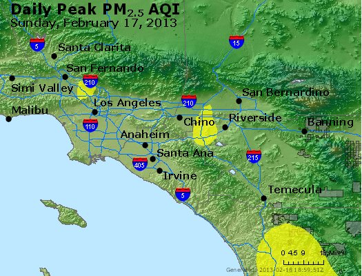 Peak Particles PM<sub>2.5</sub> (24-hour) - http://files.airnowtech.org/airnow/2013/20130217/peak_pm25_losangeles_ca.jpg