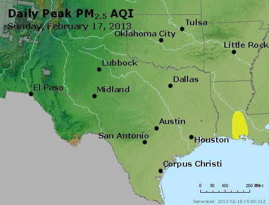 Peak Particles PM<sub>2.5</sub> (24-hour) - http://files.airnowtech.org/airnow/2013/20130217/peak_pm25_tx_ok.jpg