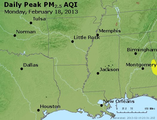 Peak Particles PM<sub>2.5</sub> (24-hour) - http://files.airnowtech.org/airnow/2013/20130218/peak_pm25_ar_la_ms.jpg