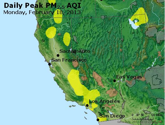 Peak Particles PM<sub>2.5</sub> (24-hour) - http://files.airnowtech.org/airnow/2013/20130218/peak_pm25_ca_nv.jpg