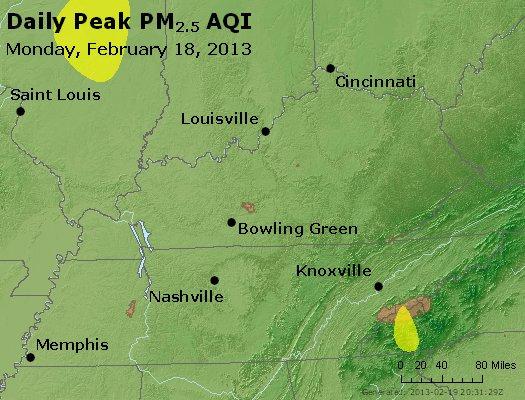 Peak Particles PM<sub>2.5</sub> (24-hour) - http://files.airnowtech.org/airnow/2013/20130218/peak_pm25_ky_tn.jpg