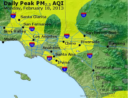 Peak Particles PM<sub>2.5</sub> (24-hour) - http://files.airnowtech.org/airnow/2013/20130218/peak_pm25_losangeles_ca.jpg
