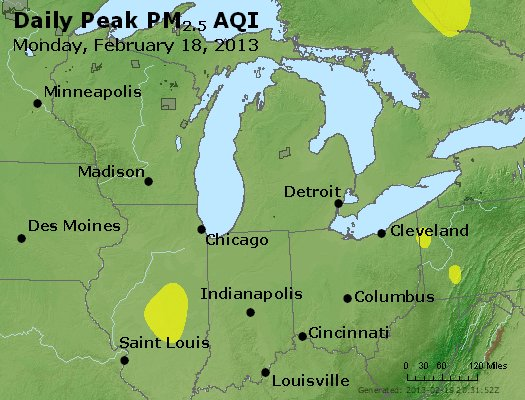 Peak Particles PM<sub>2.5</sub> (24-hour) - http://files.airnowtech.org/airnow/2013/20130218/peak_pm25_mi_in_oh.jpg