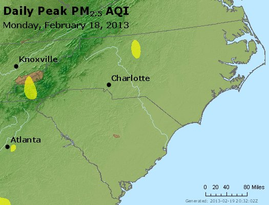Peak Particles PM<sub>2.5</sub> (24-hour) - http://files.airnowtech.org/airnow/2013/20130218/peak_pm25_nc_sc.jpg