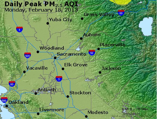 Peak Particles PM<sub>2.5</sub> (24-hour) - http://files.airnowtech.org/airnow/2013/20130218/peak_pm25_sacramento_ca.jpg