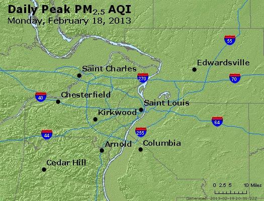 Peak Particles PM<sub>2.5</sub> (24-hour) - http://files.airnowtech.org/airnow/2013/20130218/peak_pm25_stlouis_mo.jpg