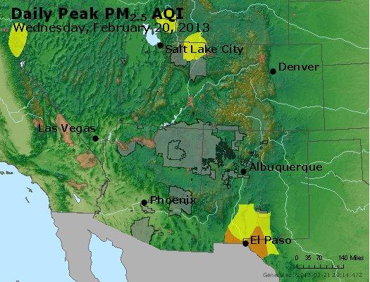 Peak Particles PM<sub>2.5</sub> (24-hour) - http://files.airnowtech.org/airnow/2013/20130220/peak_pm25_co_ut_az_nm.jpg