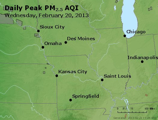Peak Particles PM<sub>2.5</sub> (24-hour) - http://files.airnowtech.org/airnow/2013/20130220/peak_pm25_ia_il_mo.jpg