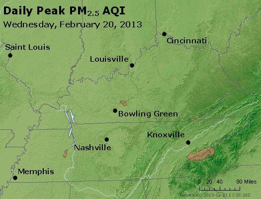 Peak Particles PM<sub>2.5</sub> (24-hour) - http://files.airnowtech.org/airnow/2013/20130220/peak_pm25_ky_tn.jpg