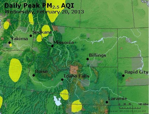 Peak Particles PM<sub>2.5</sub> (24-hour) - http://files.airnowtech.org/airnow/2013/20130220/peak_pm25_mt_id_wy.jpg