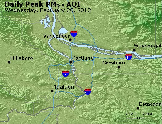 Peak Particles PM<sub>2.5</sub> (24-hour) - http://files.airnowtech.org/airnow/2013/20130220/peak_pm25_portland_or.jpg