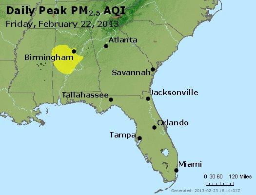 Peak Particles PM<sub>2.5</sub> (24-hour) - http://files.airnowtech.org/airnow/2013/20130222/peak_pm25_al_ga_fl.jpg