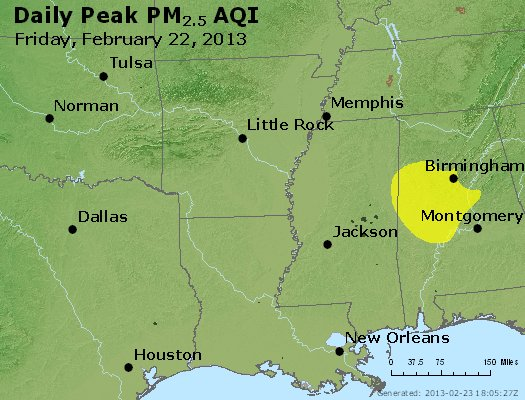 Peak Particles PM<sub>2.5</sub> (24-hour) - http://files.airnowtech.org/airnow/2013/20130222/peak_pm25_ar_la_ms.jpg