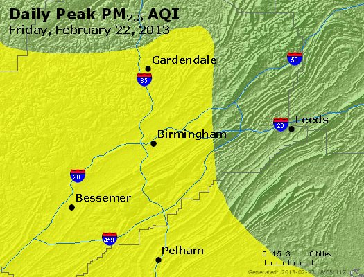 Peak Particles PM<sub>2.5</sub> (24-hour) - http://files.airnowtech.org/airnow/2013/20130222/peak_pm25_birmingham_al.jpg
