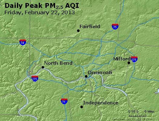 Peak Particles PM<sub>2.5</sub> (24-hour) - http://files.airnowtech.org/airnow/2013/20130222/peak_pm25_cincinnati_oh.jpg