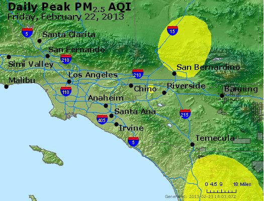 Peak Particles PM<sub>2.5</sub> (24-hour) - http://files.airnowtech.org/airnow/2013/20130222/peak_pm25_losangeles_ca.jpg