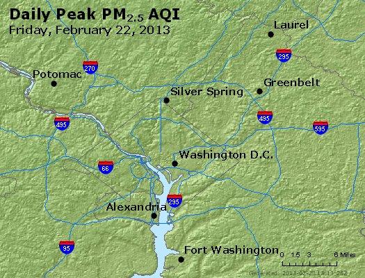 Peak Particles PM<sub>2.5</sub> (24-hour) - http://files.airnowtech.org/airnow/2013/20130222/peak_pm25_washington_dc.jpg