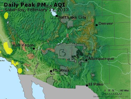 Peak Particles PM<sub>2.5</sub> (24-hour) - http://files.airnowtech.org/airnow/2013/20130223/peak_pm25_co_ut_az_nm.jpg