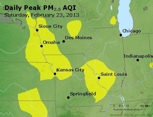 Peak Particles PM<sub>2.5</sub> (24-hour) - http://files.airnowtech.org/airnow/2013/20130223/peak_pm25_ia_il_mo.jpg