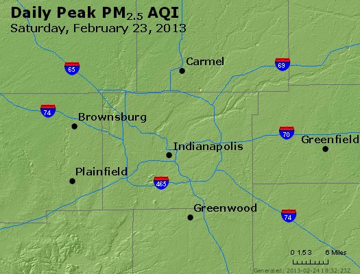 Peak Particles PM<sub>2.5</sub> (24-hour) - http://files.airnowtech.org/airnow/2013/20130223/peak_pm25_indianapolis_in.jpg