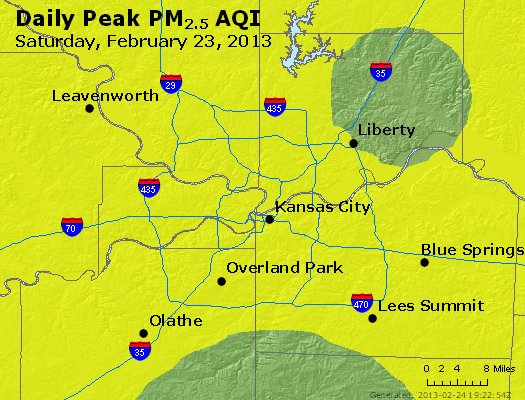 Peak Particles PM<sub>2.5</sub> (24-hour) - http://files.airnowtech.org/airnow/2013/20130223/peak_pm25_kansascity_mo.jpg