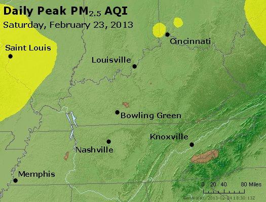 Peak Particles PM<sub>2.5</sub> (24-hour) - http://files.airnowtech.org/airnow/2013/20130223/peak_pm25_ky_tn.jpg
