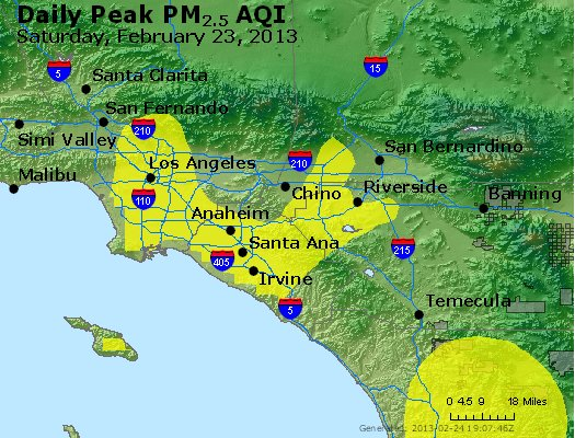 Peak Particles PM<sub>2.5</sub> (24-hour) - http://files.airnowtech.org/airnow/2013/20130223/peak_pm25_losangeles_ca.jpg