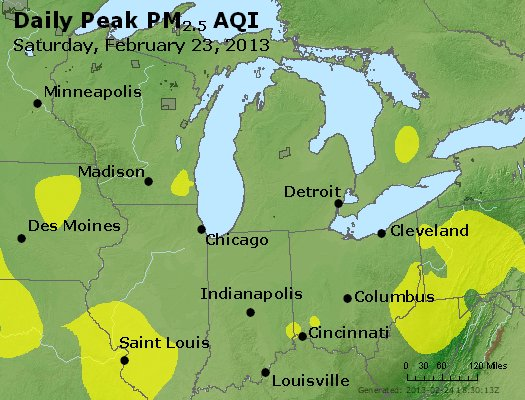 Peak Particles PM<sub>2.5</sub> (24-hour) - http://files.airnowtech.org/airnow/2013/20130223/peak_pm25_mi_in_oh.jpg