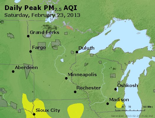 Peak Particles PM<sub>2.5</sub> (24-hour) - http://files.airnowtech.org/airnow/2013/20130223/peak_pm25_mn_wi.jpg