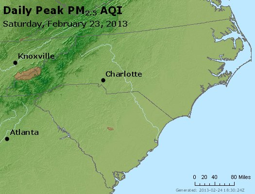 Peak Particles PM<sub>2.5</sub> (24-hour) - http://files.airnowtech.org/airnow/2013/20130223/peak_pm25_nc_sc.jpg