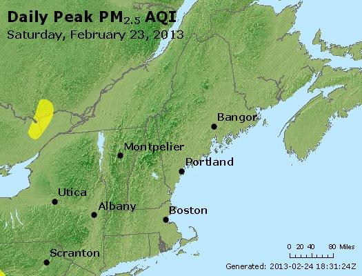Peak Particles PM<sub>2.5</sub> (24-hour) - http://files.airnowtech.org/airnow/2013/20130223/peak_pm25_vt_nh_ma_ct_ri_me.jpg