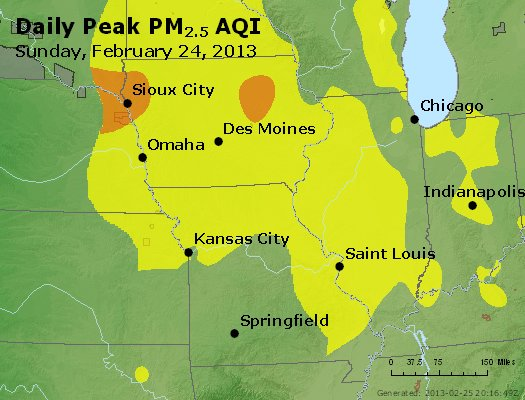 Peak Particles PM<sub>2.5</sub> (24-hour) - http://files.airnowtech.org/airnow/2013/20130224/peak_pm25_ia_il_mo.jpg
