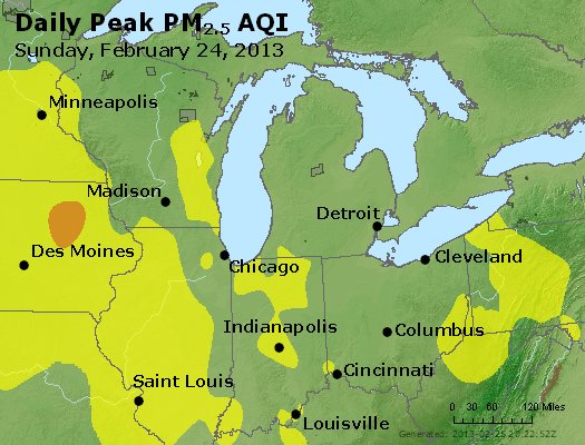 Peak Particles PM<sub>2.5</sub> (24-hour) - http://files.airnowtech.org/airnow/2013/20130224/peak_pm25_mi_in_oh.jpg