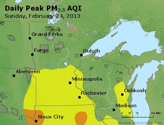Peak Particles PM<sub>2.5</sub> (24-hour) - http://files.airnowtech.org/airnow/2013/20130224/peak_pm25_mn_wi.jpg