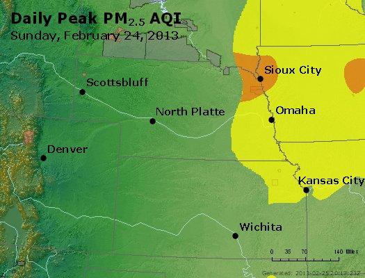 Peak Particles PM<sub>2.5</sub> (24-hour) - http://files.airnowtech.org/airnow/2013/20130224/peak_pm25_ne_ks.jpg