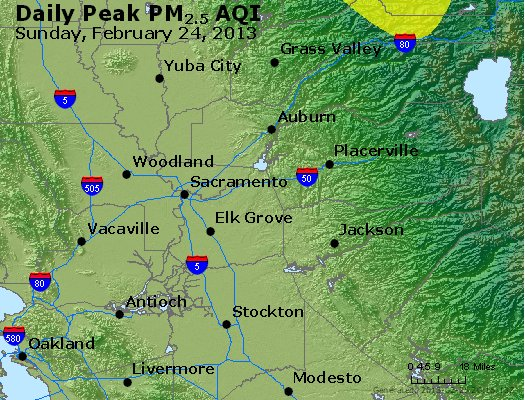 Peak Particles PM<sub>2.5</sub> (24-hour) - http://files.airnowtech.org/airnow/2013/20130224/peak_pm25_sacramento_ca.jpg