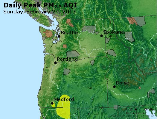 Peak Particles PM<sub>2.5</sub> (24-hour) - http://files.airnowtech.org/airnow/2013/20130224/peak_pm25_wa_or.jpg