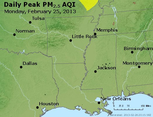 Peak Particles PM<sub>2.5</sub> (24-hour) - http://files.airnowtech.org/airnow/2013/20130225/peak_pm25_ar_la_ms.jpg