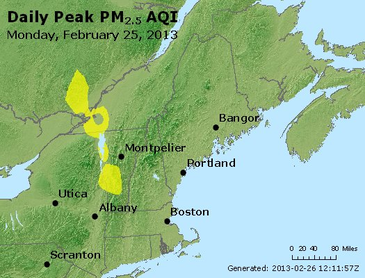 Peak Particles PM<sub>2.5</sub> (24-hour) - http://files.airnowtech.org/airnow/2013/20130225/peak_pm25_vt_nh_ma_ct_ri_me.jpg