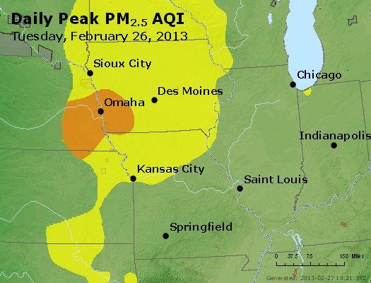 Peak Particles PM<sub>2.5</sub> (24-hour) - http://files.airnowtech.org/airnow/2013/20130226/peak_pm25_ia_il_mo.jpg