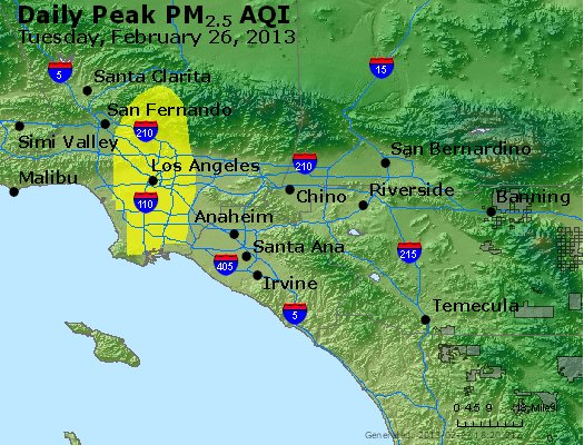 Peak Particles PM<sub>2.5</sub> (24-hour) - http://files.airnowtech.org/airnow/2013/20130226/peak_pm25_losangeles_ca.jpg