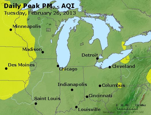 Peak Particles PM<sub>2.5</sub> (24-hour) - http://files.airnowtech.org/airnow/2013/20130226/peak_pm25_mi_in_oh.jpg