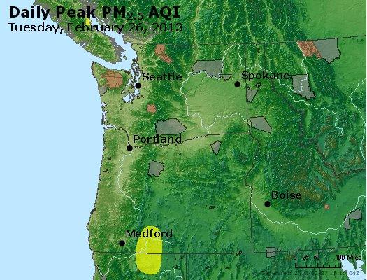 Peak Particles PM<sub>2.5</sub> (24-hour) - http://files.airnowtech.org/airnow/2013/20130226/peak_pm25_wa_or.jpg