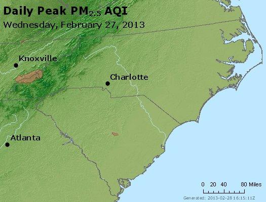 Peak Particles PM<sub>2.5</sub> (24-hour) - http://files.airnowtech.org/airnow/2013/20130227/peak_pm25_nc_sc.jpg