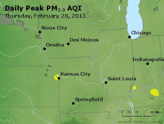 Peak Particles PM<sub>2.5</sub> (24-hour) - http://files.airnowtech.org/airnow/2013/20130228/peak_pm25_ia_il_mo.jpg